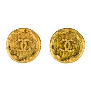 CHANEL LOGO COIN EARRINGS